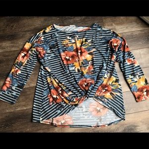 Oddy 2x floral stripped shirt